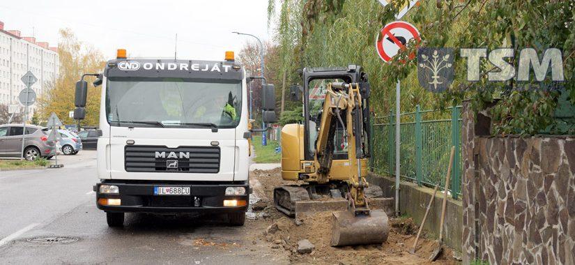Oprava chodníka na Partizánskej